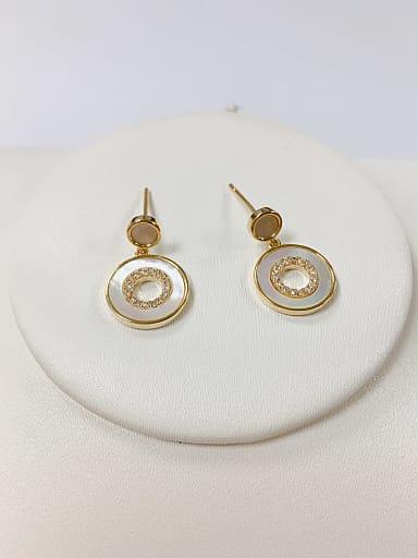 Brass Shell Round Dainty Stud Earring