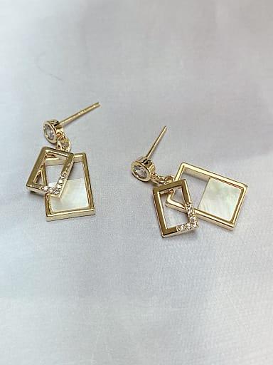 Brass Shell Rectangle Trend Drop Earring