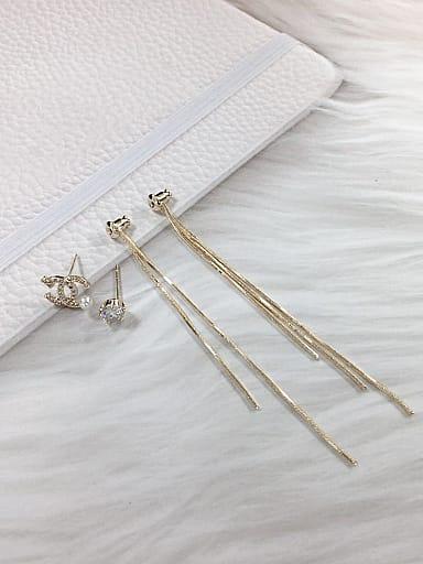 Brass Cubic Zirconia Letter Dainty Threader Earring