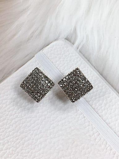Zinc Alloy Rhinestone Square Trend Clip Earring