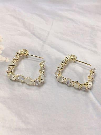 Brass Cubic Zirconia Irregular Trend Hoop Earring