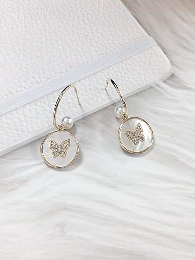 Brass Shell Butterfly Trend Hook Earring