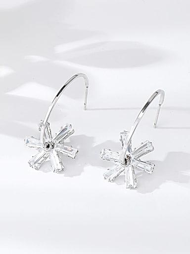 Brass Cubic Zirconia Star Trend Hook Earring