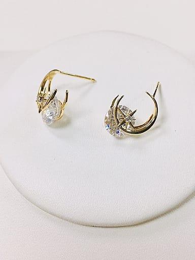 Brass Cubic Zirconia Irregular Dainty Stud Earring