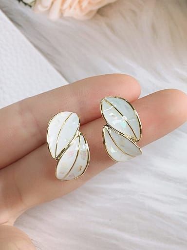 Zinc Alloy Shell Leaf Trend Stud Earring
