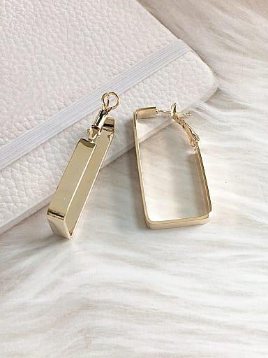 Brass Rectangle Trend Clip Earring