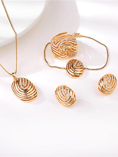 Statement Oval Brass Cubic Zirconia Ring Earring Bangle And Necklace Set