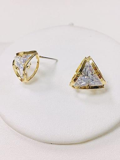 Brass Cubic Zirconia Triangle Dainty Stud Earring