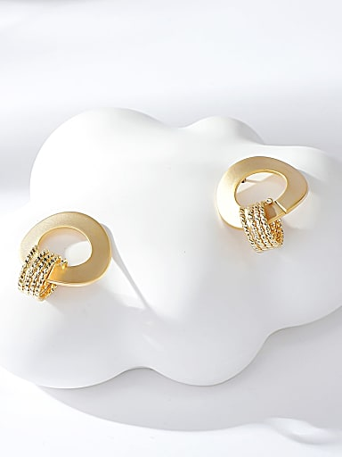 Brass Geometric Classic Stud Earring