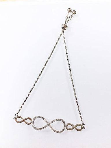 Brass Cubic Zirconia Irregular Minimalist Adjustable Bracelet