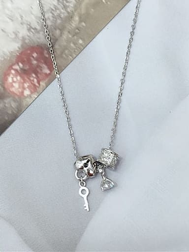925 Sterling Silver Cubic Zirconia Locket Dainty Initials Necklace