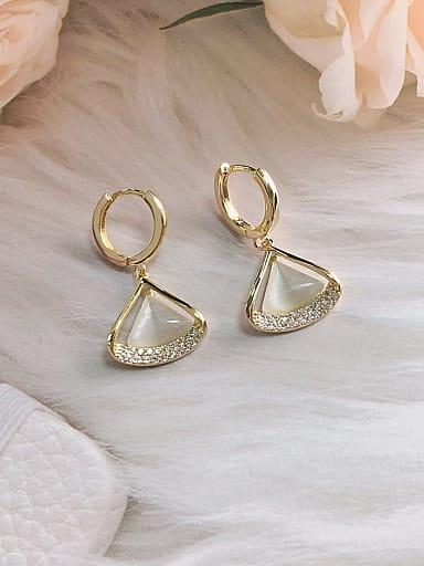 Brass Cats Eye Triangle Trend Huggie Earring