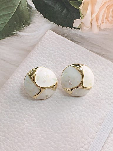 Zinc Alloy Shell Round Trend Stud Earring