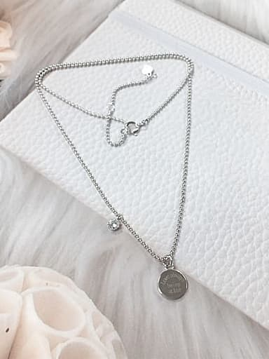 925 Sterling Silver Cubic Zirconia Round Dainty Beaded Necklace