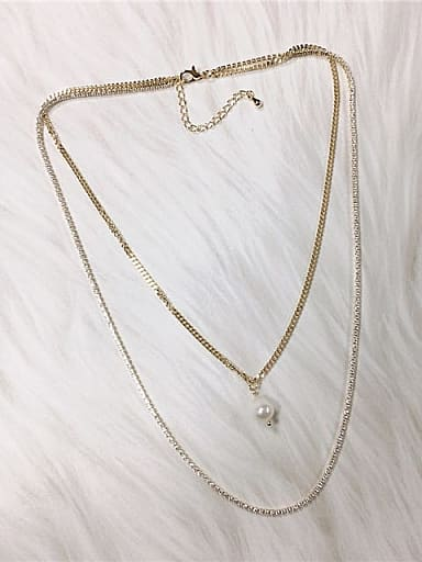 Brass Freshwater Pearl Irregular Minimalist Link Necklace