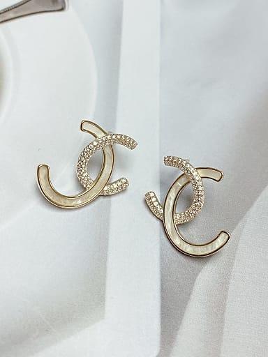 Brass Cubic Zirconia Irregular Minimalist Stud Earring