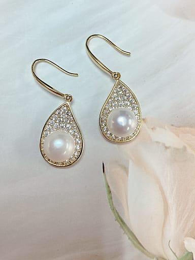 Brass Imitation Pearl Water Drop Trend Hook Earring