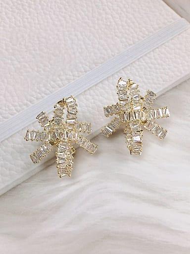 Brass Cubic Zirconia Irregular Trend Clip Earring