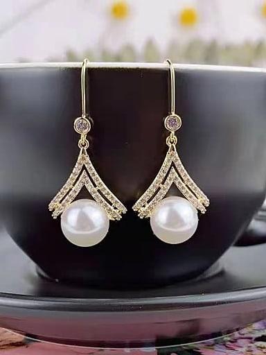 Brass Imitation Pearl Irregular Trend Hook Earring