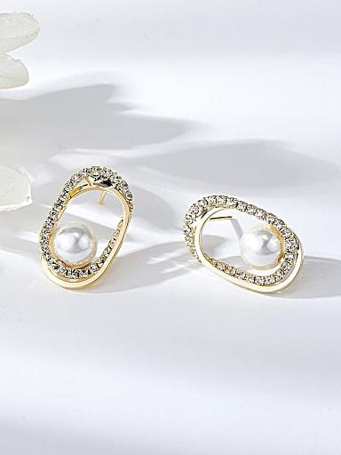 Brass Imitation Pearl Oval Dainty Stud Earring