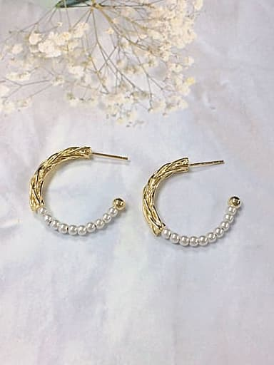 Brass Imitation Pearl Cone Minimalist Hoop Earring