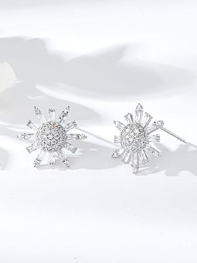 Brass Cubic Zirconia Moon Dainty Stud Earring