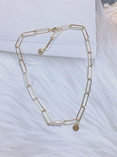 Brass Medallion Trend Link Necklace