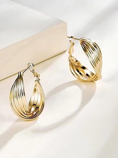 Brass Round Trend Hoop Earring
