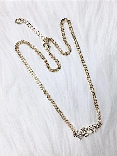 Zinc Alloy Cubic Zirconia Letter Trend Link Necklace