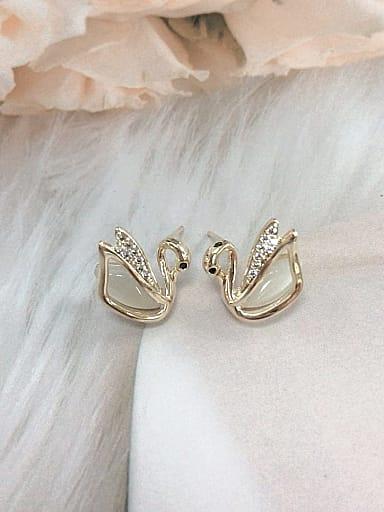 Brass Cats Eye Swan Dainty Stud Earring