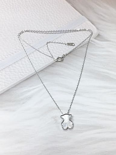 925 Sterling Silver Shell Panda Dainty Initials Necklace