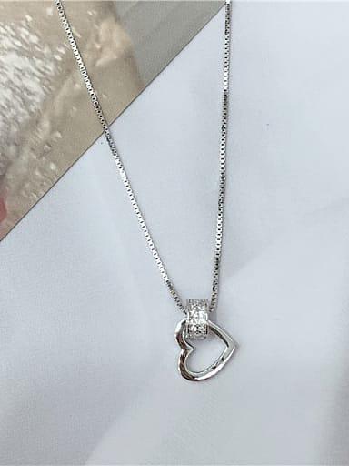 925 Sterling Silver Cubic Zirconia Heart Dainty Locket Necklace