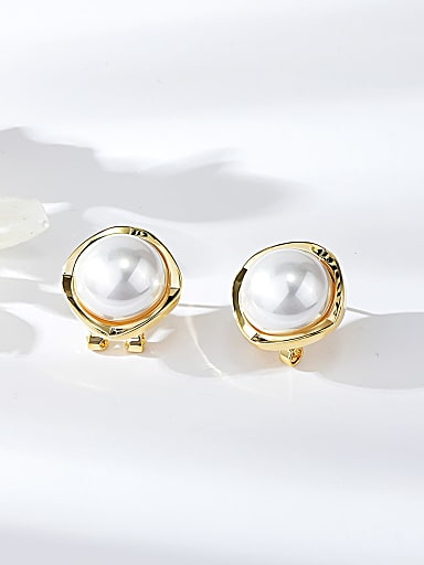 Zinc Alloy Imitation Pearl Square Minimalist Clip Earring