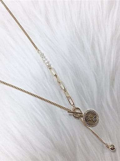 Brass Freshwater Pearl Medallion Trend Link Necklace