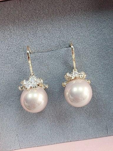Brass Imitation Pearl Ball Trend Hook Earring