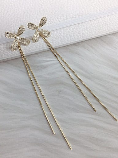 Brass Cubic Zirconia Tassel Statement Threader Earring