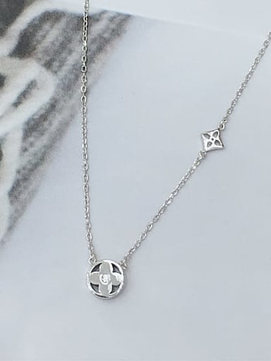 925 Sterling Silver Cubic Zirconia Clover Dainty Initials Necklace