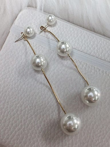 Zinc Alloy Imitation Pearl Round Statement Threader Earring