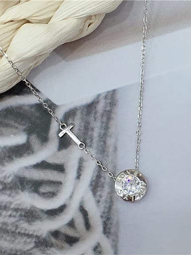 925 Sterling Silver Cubic Zirconia Cross Dainty Initials Necklace