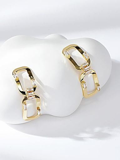 Brass Cubic Zirconia Oval Trend Drop Earring