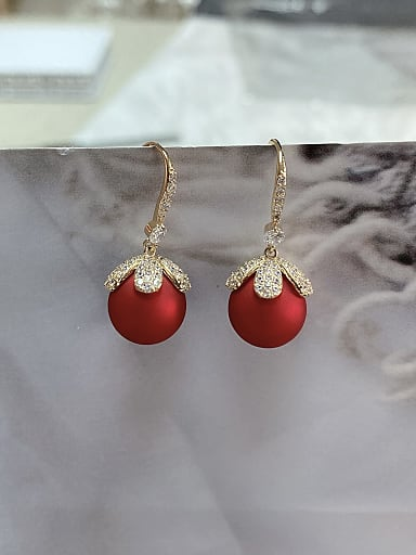 Brass Imitation Pearl Flower Trend Hook Earring