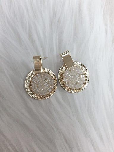 Zinc Alloy Crystal Round Trend Drop Earring