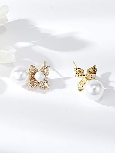 Brass Imitation Pearl Round Dainty Drop Earring