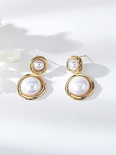 Zinc Alloy Imitation Pearl Round Trend Drop Earring