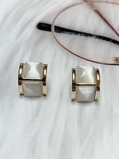 Zinc Alloy Cats Eye Irregular Classic Stud Earring