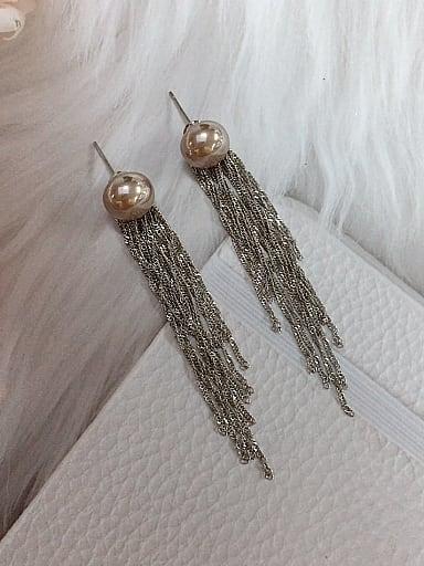 Brass Imitation Pearl Tassel Trend Threader Earring