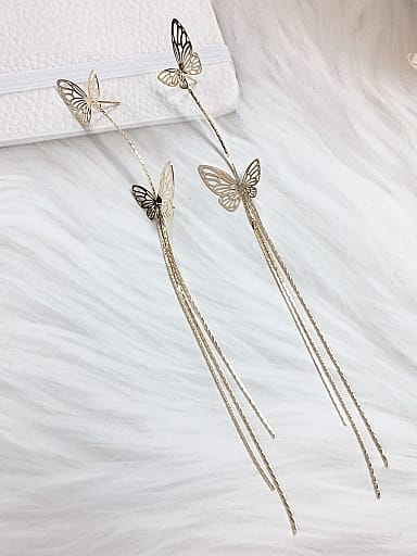 Brass Butterfly Trend Threader Earring