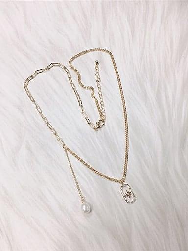 Brass Freshwater Pearl Irregular Trend Link Necklace
