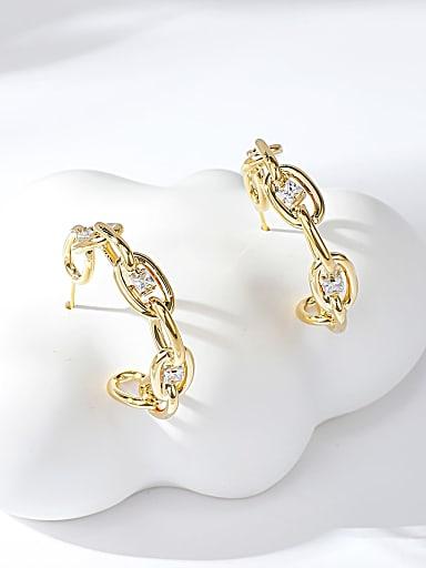 Zinc Alloy Gold Plated Irregular Stud Earring