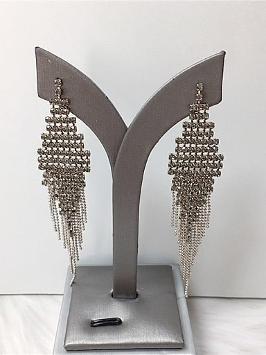 Zinc Alloy Rhinestone Tassel Trend Threader Earring